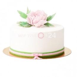 Торт свадебный одноярусный белый, с розовым цветком сверху
