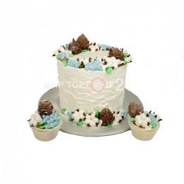 Торт свадебный одноярусный без мастики с капкейками
