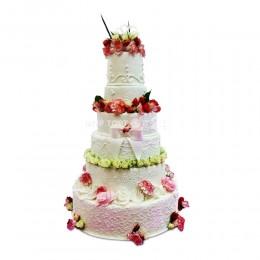 Торт Свадебный белый с цветами 3