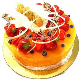 Торт на заказ манго с голубикой