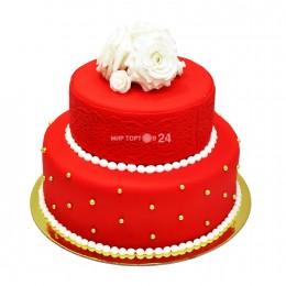Торт свадебный в два яруса с узорами и белой розой