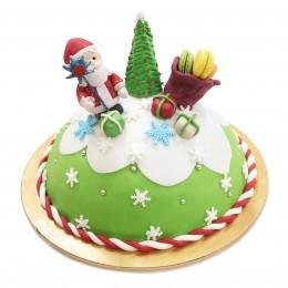 Торт Детский на Новый год с фигуркой деда мороза и елочки