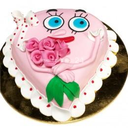 Торт детский в виде сердца с розами
