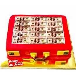 Торт праздничный красный в форме чемодана с деньгами