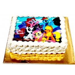 Торт детский квадратный с фотопечатью пони