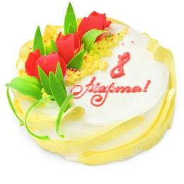 Торт праздничный на 8 Марта с тюльпанами