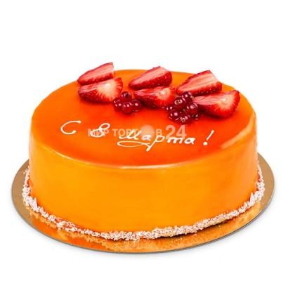 Торт праздничный на 8 марта с кусочками свежей клубники и свежей красной смородиной