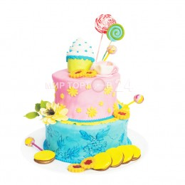 Торт детский в два яруса розово-голубого цвета со сладостями