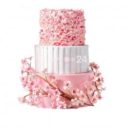 Торт свадебный бело-розовый с цветами цветущей сакуры