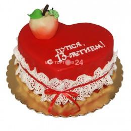 Торт детский в форме сердца с фигуркой яблоки с червячком