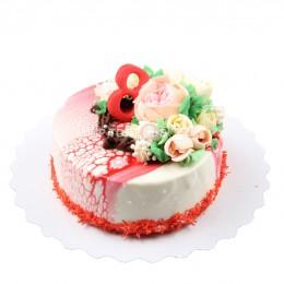 Торт праздничный на 8 марта с  цветком пиона