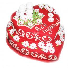 Торт праздничный в два яруса в форме сердца с мелкими ромашками и фигурками ангелочков