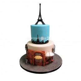 Торт праздничный в два яруса в стиле Парижа