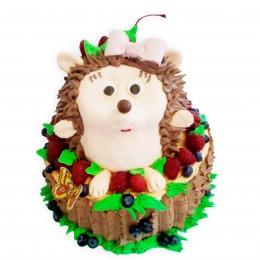 Торт детский в форме пенёчка и ёжика