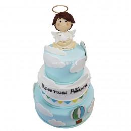 Торт детский в три яруса с облаками и фигуркой ангелочка