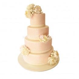 Торт свадебный в четыре яруса розового цвета со съедобными бусинками по торту и бутонами цветов