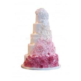 Торт Свадебный с белым, розовым и малиновым цветами