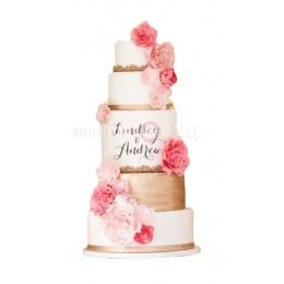 Торт Свадебный золотисто-белый