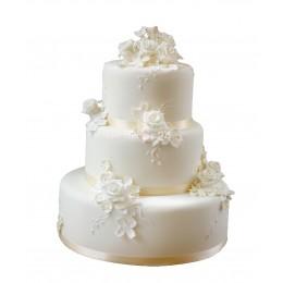 Торт Свадебный белый с белыми розами 1
