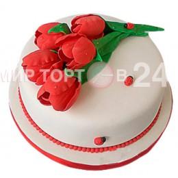 Торт праздничный красные тюльпаны