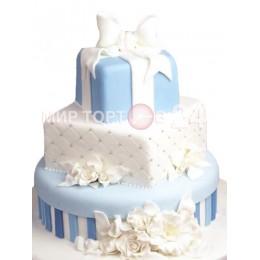 Торт Свадебный небесного цвета