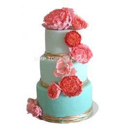 Торт Свадебный нежный пион