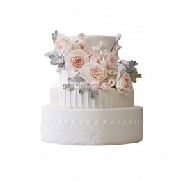 Торт Свадебный белый с цветами 2