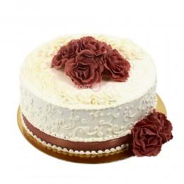 Торт свадебный с шоколадными цветами