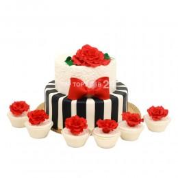 Торт Свадебный с капкейками 5