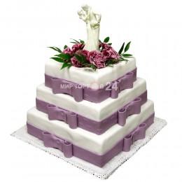 Торт Свадебный квадратный с цветами