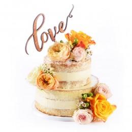Торт свадебный с пионами и розами
