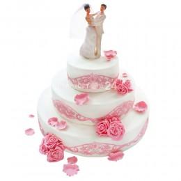 Торт свадебный с розовыми розами