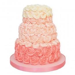 Торт свадебный с кремовыми розами
