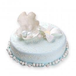 Торт свадебный светло-голубой