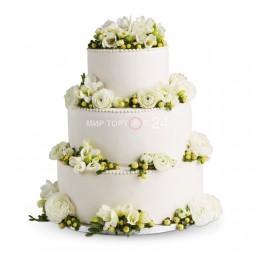 Торт свадебный белый с розами