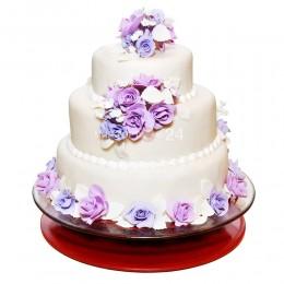 Торт свадебный с розово-фиолетовыми розами