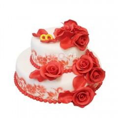 Торт свадебный с красными розами и кольцами