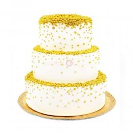 Торт свадебный белый с желтым украшением