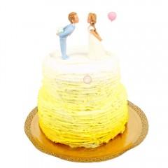 Торт свадебный бело-желтый