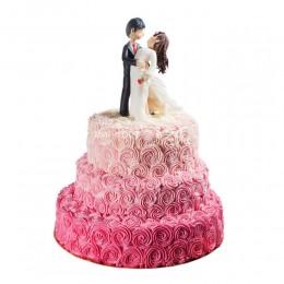 Торт свадебный с розами из крема