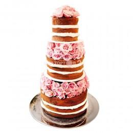 Торт свадебный бисквитный с цветами