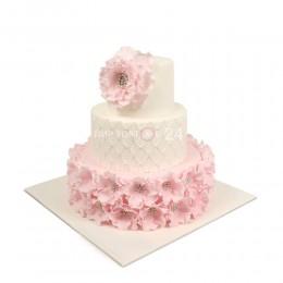 Торт Свадебный бело-розовый