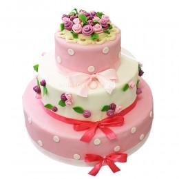 Торт свадебный с бантом и цветами из крема