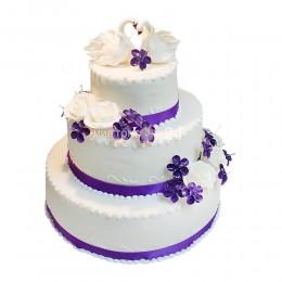 Торт Свадебный сиреневый с лебедями