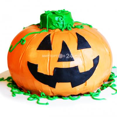 Торт на хэллоуин в форме тыквы