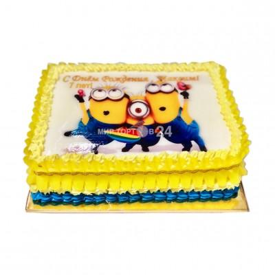 Торт детский квадратный Миньоны