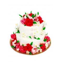 Торт свадебный белый с яркими цветами