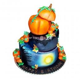 Торт на хэллоуин двух ярусный с тыквами