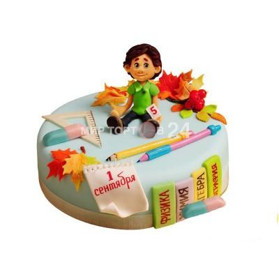 Заказать Торт на 1 сентября с фигуркой мальчика