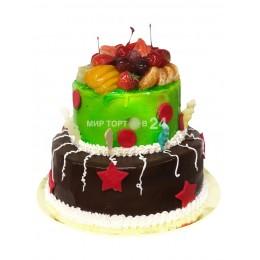 Торт праздничный двух ярусный с фруктами